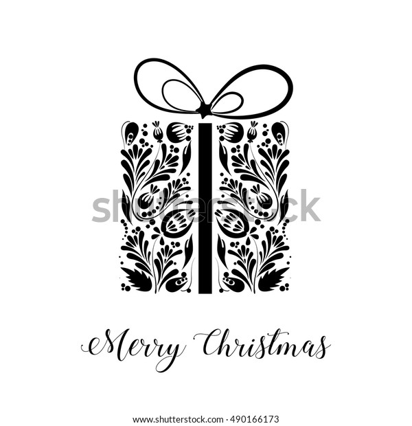 Merry Christmas Images Black And White.Merry Christmas Black White Christmas Card Stock Vector