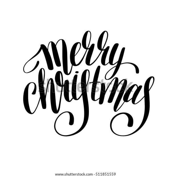 Christmas Clip Art Black And White Free.Merry Christmas Black White Handwritten Lettering Stock