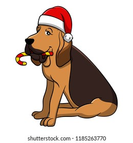 Merry Christmas Bloodhound Cartoon Dog. Vector illustration of purebred Christmas bloodhound dog.