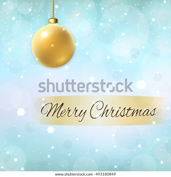 Merry Christmas blue background with 3d gold ball. Golden decoration, stars, glitter, white winter snowflakes. Bright xmas card Happy New Year celebration pattern. Holiday design Vector illustration