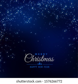 merry christmas blue background with falling sparkles