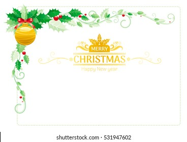 Merry Christmas border corner. Holiday decoration icons pattern, isolated on white. Green holly berries, golden tree ball. Festivity poster design element, flat symbol. Vector illustration.