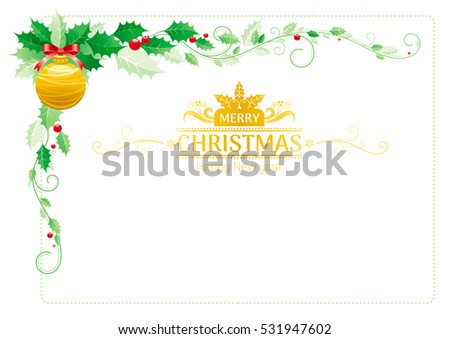 merry christmas border corner holiday decoration icons pattern isolated on white green holly - Merry Christmas Border