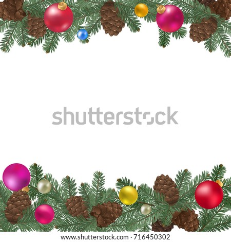 merry christmas border new year decoration with pine branches cones and xmas balls - Merry Christmas Border