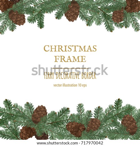 merry christmas border new year decoration with pine branches and cones vector decorative elements - Merry Christmas Border