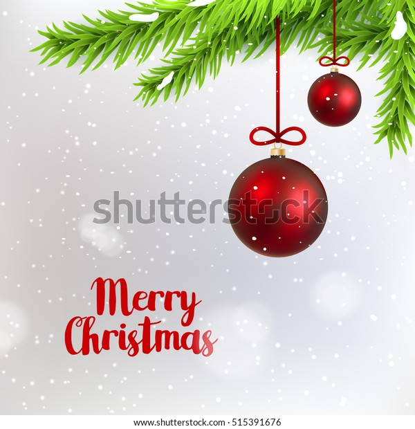 Merry Christmas branch fir with hanging christmas ball. Holiday winter background with spruce. Seasonal decoration design.