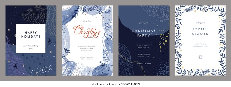 Merry Christmas and Bright Corporate Holiday cards. Modern abstract creative universal artistic templates. Vector illustration.