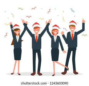 Merry christmas business people with companion in winter holiday. Business man and Businesswoman character in office.