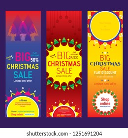 Merry Christmas business promotion offer banner, Shopping concept. Vector illustration