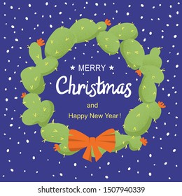 Merry Christmas cactuses wreath with holiday text. Vector holiday American symbol decoration. Color card illustration