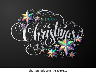 Merry Christmas Calligraphic Inscription Decorated with Holographic Stars, Glitter and Beads