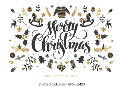 Merry Christmas Calligraphic Lettering Design decorated with Christmas Wrath.