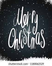 Merry Christmas. Calligraphic retro Christmas card design. Vector illustration.
