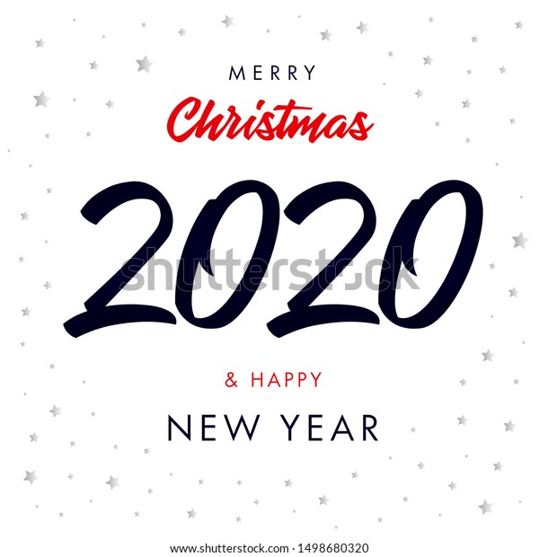 Merry Christmas And Happy New Year 2020-2022 Merry Christmas Calligraphy 2020 Happy New Stock Vector (Royalty