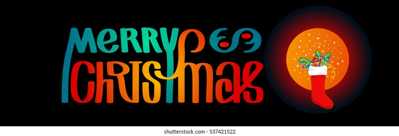 Merry Christmas. Calligraphy clip-art with Christmas stocking, vector illustration. Suitable for poster or web banner. Isolated on black