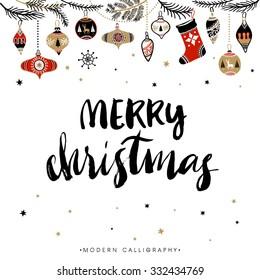 Merry Christmas. Christmas calligraphy. Handwritten modern brush lettering. Hand drawn design elements.