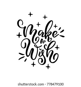 Merry christmas calligraphy quote. Hand drawn vector text for design greeting cards, photo overlays, gifts, digital greetings, prints, posters. Make a wish.