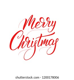 Merry Christmas calligraphy. Xmas holiday script lettering design