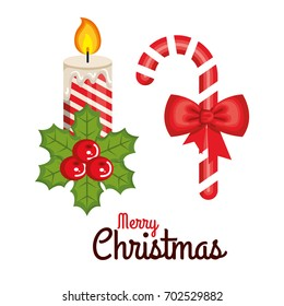 merry christmas candle and cane candy sweet bow celebration