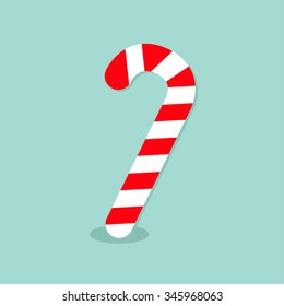 Merry Christmas Candy Cane. Isolated. Flat design. Blue background. Vector illustration
