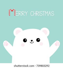 Merry Christmas Candy cane. Polar white little small bear cub. Reaching for a hug. Cute cartoon baby character icon. Open hand ready for a hugging Arctic animal . Flat design Winter background. Vector