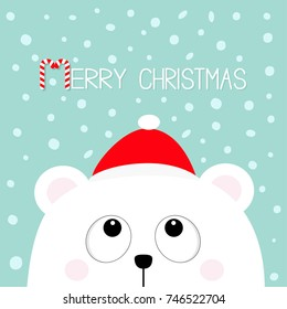 Merry Christmas Candy cane. Polar white little small bear cub head face looking up. Red Santa Claus hat. Cute cartoon baby character. Arctic animal. Flat design Winter snow flake background. Vector