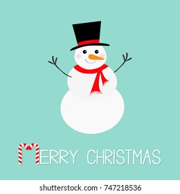 Merry Christmas. Candy cane. Snowman, carrot nose, hat, red scarf and snowflakes. Cute cartoon funny kawaii character. Blue winter background. Greeting card. Flat design. Vector illustration