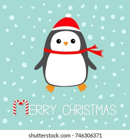Merry Christmas Candy cane text. Kawaii Penguin bird. Red Santa Claus hat, scarf. Cute cartoon baby character. Flat design Winter antarctica blue background with snow flake. Greeting card. Vector
