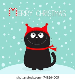 Merry Christmas candy cane text. Black Cat kitten head face looking up. Kitty sitting on snowdrift. Red hat, scarf. Cute funny cartoon character. Flat design. Blue winter background with snow. Vector