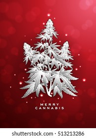 Merry Christmas Cannabis Marijuana Plant Greeting Card Template Vector Illustration