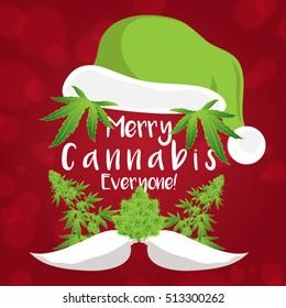 Merry Christmas Cannabis Marijuana Plant Santa Claus Greeting Card Template Vector Illustration