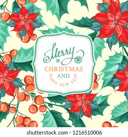 Merry christmas card with badge for text and misletoe pattern on the white background. Holiday invitation card with poinsettia floral background. Vector illustration.