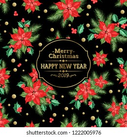 Merry christmas card with badge for text and misletoe pattern on the black background. Holiday invitation card with poinsettia floral background. Vector illustration.