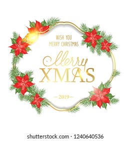 Merry christmas card with badge for text and misletoe pattern on the white background. Holiday invitation card with poinsettia floral border. Vector illustration.