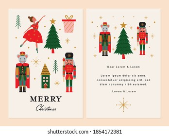 Merry Christmas Card with Ballerina, Mouse King and Nutcracker.