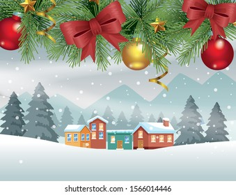 merry christmas card with balls in neighborhood snowscape vector illustration design