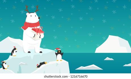 Merry Christmas card. Bear cartoon vector. character design. free space for text. wallpaper. penguin vector.