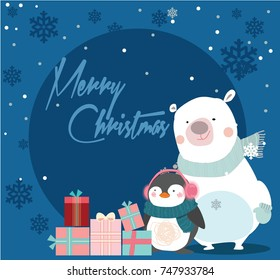 Merry Christmas card with bear and present box. vector illustration