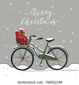 Merry Christmas card with bike