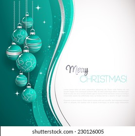 Merry Christmas card with blue bauble . Vector illustration.
