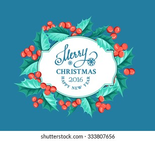 Merry christmas card with border of misletoe wreath on the blue background. Vector illustration.