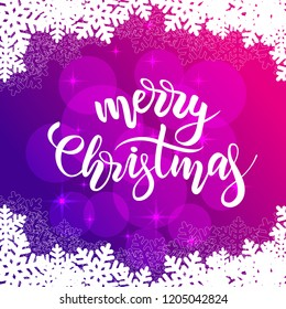 Merry Christmas card with brush calligraphy and snowflakes on violet background. Vector illustration