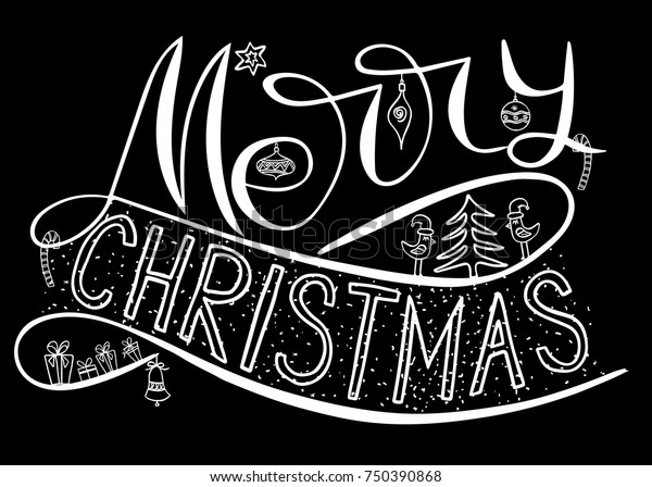 Merry Christmas Card Brush Calligraphy New Stock Vector Royalty Free 750390868