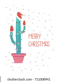 Merry Christmas card. Cactus in a Christmas hat and mittens. Cute vector greeting card.
