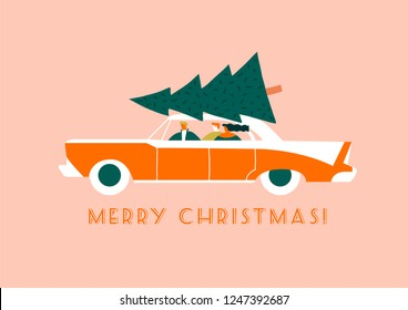 Merry Christmas card with cartoon family characters driving a car carrying a fir tree to home new year celebration. Winter postcard and poster collection.
