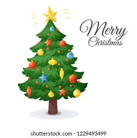Merry Christmas card. Cartoon Christmas tree isolated on white background. Winter holidays decorations with stars, balls and garlands, vector illustration. For New Year cards, banners, posters.