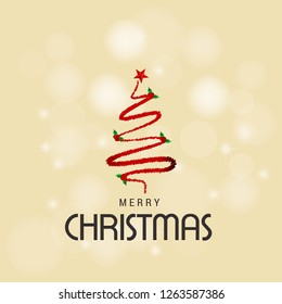 Merry Christmas card with creative design and light background
