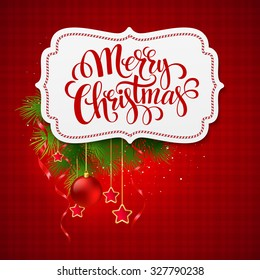 Merry Christmas card creative label. Vector Illustration EPS 10