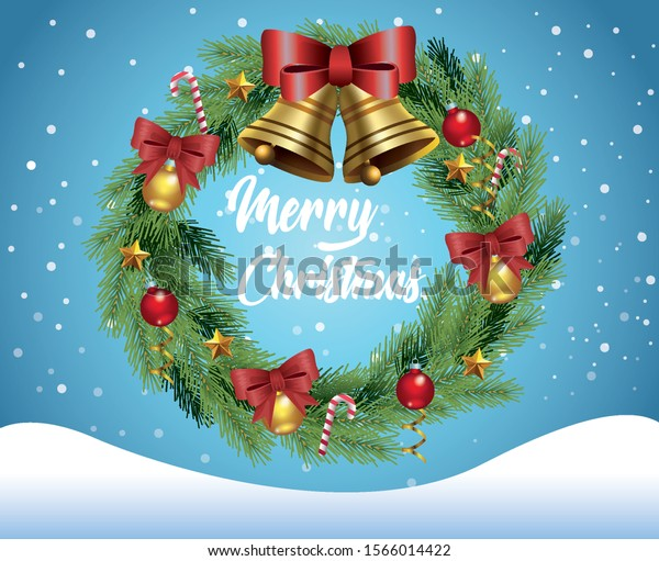 merry christmas card with crown in snowscape vector illustration design