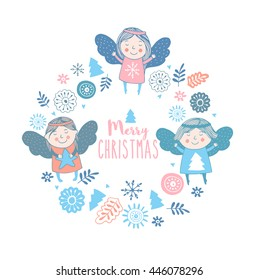 Merry christmas card with cute angels.Bright holiday background